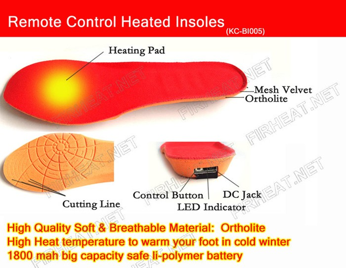 wireless rechargeable heated shoe insoles boot heater 2016
