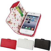 OEM Flower Pattern Internal Cloth Wholesale Cell Phone Case for Apple iphone 4 4s with Stand and Card Slot Cheap Leather Case