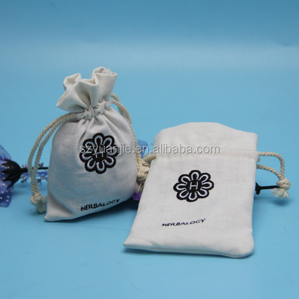 wholesale embroidery drawstring cotton gift pouch with custom logo
