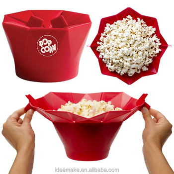 2015 New Products Reusable Microwave Silicone Popcorn Server SGS,FDA,LFGB certified Popcorn Bowl