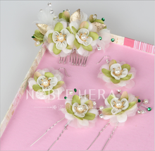 Metal Comb Hair flower pin hawaiian flower white beaded hair clips