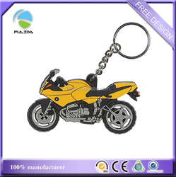Custom 2D Cheaper Motorcycle Shaped Rubber Soft PVC Keyring