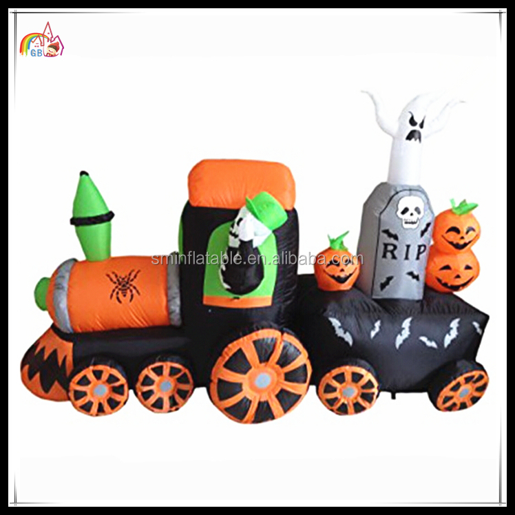 Halloween Theme Inflatable Skull Pumpkins Train Skeleton Product Decoration On Sale
