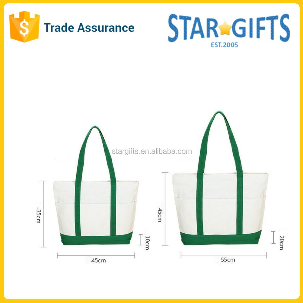 Custom Green Reusable Cotton Combination Shopping Tote Bag With Zippered Closure