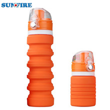 Flexible Expandable Collapsible Pocket-sized Travel Bands Rubber Silicone Water Bottle