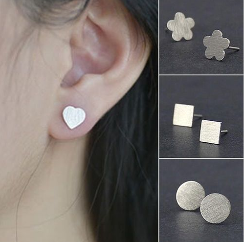 Vogue Jewelry Matte Geometry Ear Studs, High Quality Round Square Cross Star Silver Scrub Stub Earrings