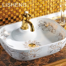Beautifully patterned square many colors art ceramic washbasin counter top basin moroccan sink bowl