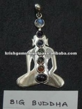 Sterling Silver Buddha Pendant / Wholesale Chakra 925 Sterling Silver Pendant Jewelery / Healing Jewellery