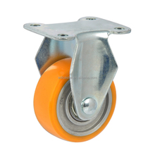 "EDL Mini Duty 2"" 40Kg Polyurethane Wheels Castors Plate Rigid Fixed Small Industrial Hi-speed Casters Wheels for trolley cart"