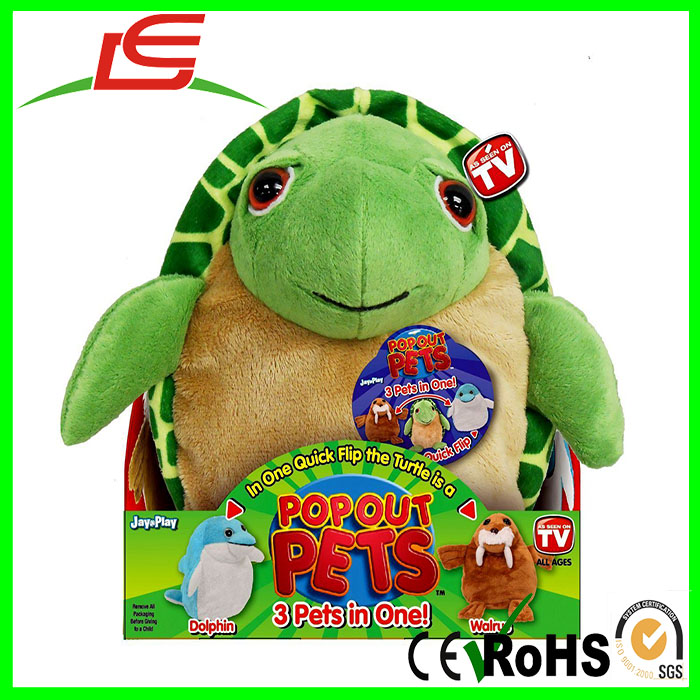 Hot Sale Turtle Dolphin Walrus 3 Stuffed Animals In One Transforming Plush Toys with Crammed Inside