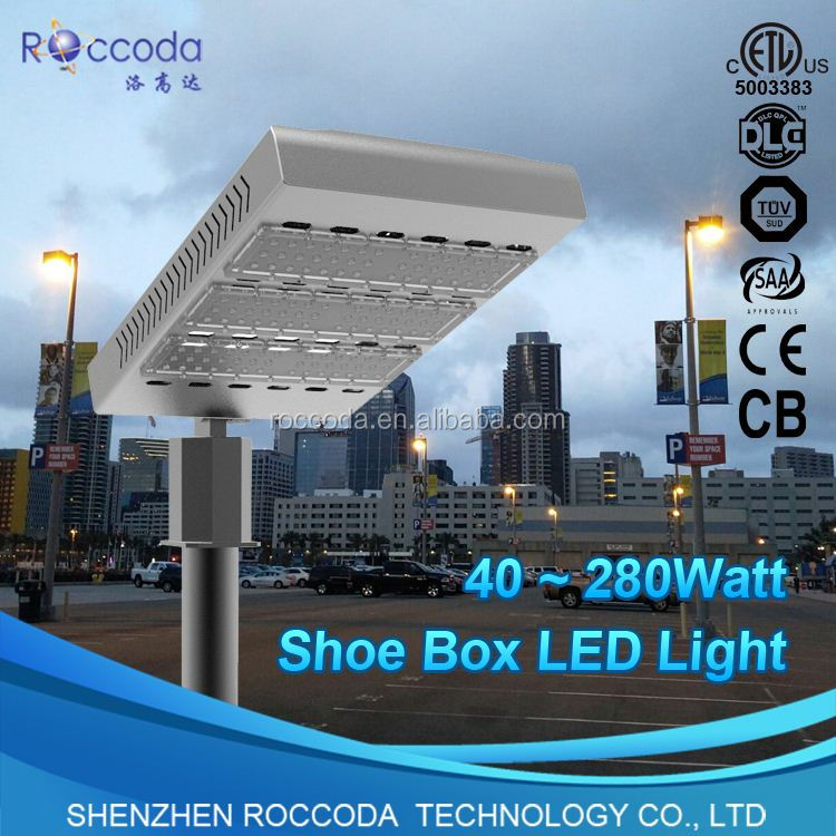 NEW Product FLD-SHB-120W-Z outdoor Christmas laser lights white shell Led Shoe Box 110lm/w 120w DLC UL street lights