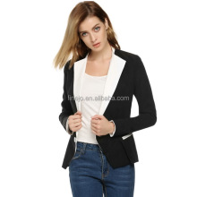 Zeagoo mujeres Office Lady trabajo casual Candy color cuero patchwork blazer