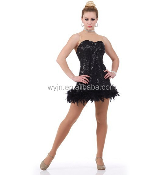 black feather sequin leotard short mini dress- adult Jazz skirt dancing