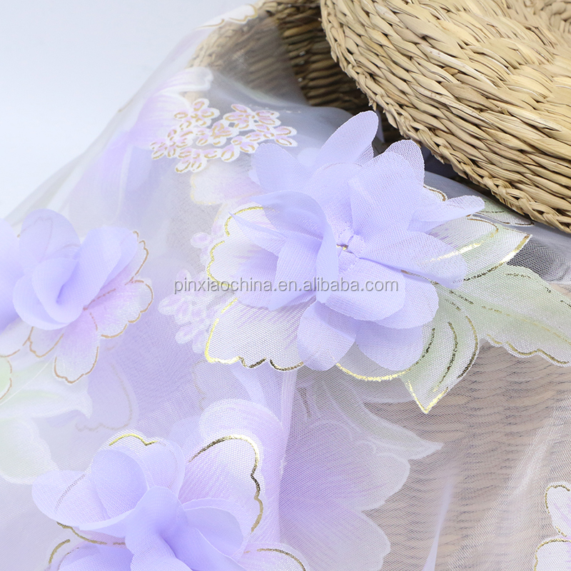 100% Polyester Latest Organza 3D Bronzing Cup Cord Romantic Flower Design With Printing Fabric For Ladies Cloth