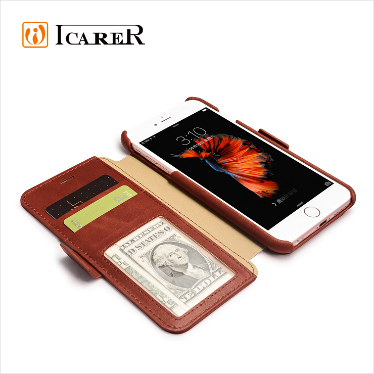 ICARER Custom Design Genuine Leather Wallet Case For Apple iPhone 6 6s Plus Stand Flip Cover With Card Slot for iPhone6 5.5