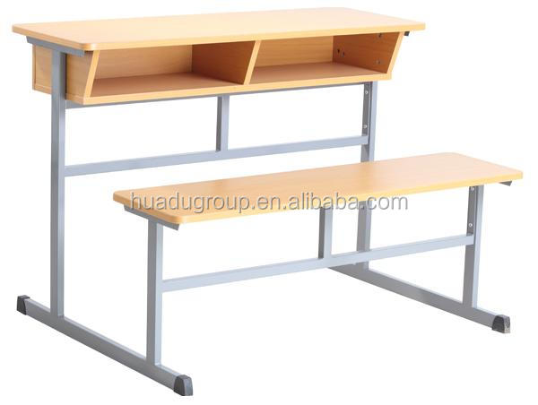 Two Seater School Table Bench for Student Double Student Desk and Bench Classroom Wooden Bench Set