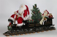 XM-A6021 42 inch big santa and elf sitting on train for indoor christmas decoration manufacturer