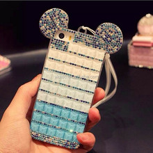 Luxury mitch ear rhinestone cute mobile phone cover for iphone 6