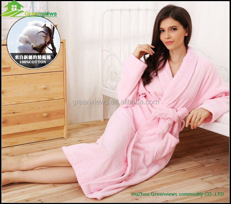 Women cotton sleepwear cotton terry nightgown shawl collar style nightgown cotton cheap robes SPA nightgown