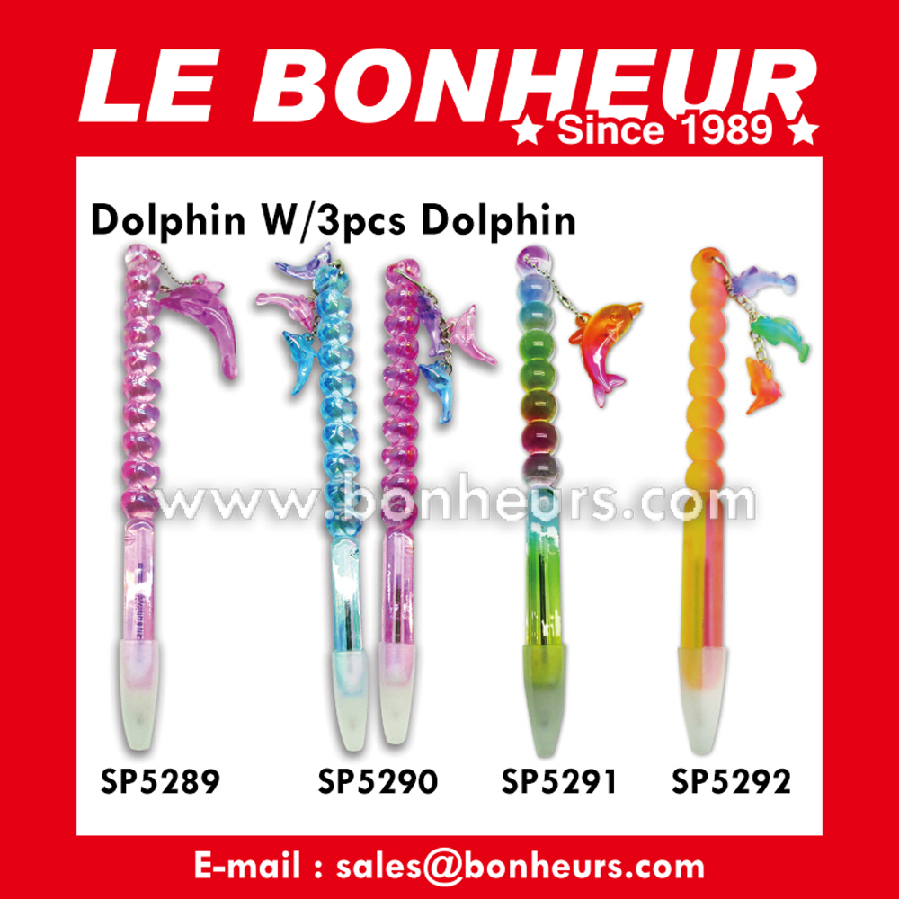 New Novelty Toy Colorful 3Pcs Dolphin Heart Pen