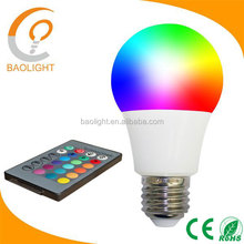 CE rgb led bulb 16 Colors Changing 7W magic smart E27 RGB LED light + IR Remote Control