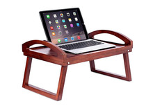 Wooden Lap Desk Bed Tray | Breakfast Bed Tray with Wide Grip Handles | Folding Legs | Food Drink Snack Serving Bed Tray Table |