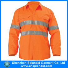 New product 2016 100 polyester summer high visibility reflective button work shirt