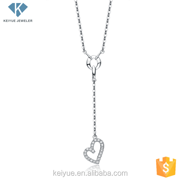 Guangzhou supplier of steel link chain necklace with long heart pendant