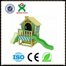 The cheapest alibaba china wooden playhouse with slide/wooden house for kids play/cubby house for preschool kids QX-204G
