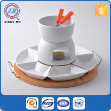 High quality white porcelain durable fondue set chocolate ceramic with serving plates
