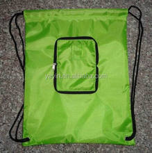 Reusable nylon polyester foldable shopping bag with drawstring