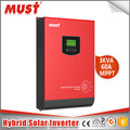 MUST PV1800 pure sine wave home use 3kva hybrid solar inverter with 60A MPPT controller