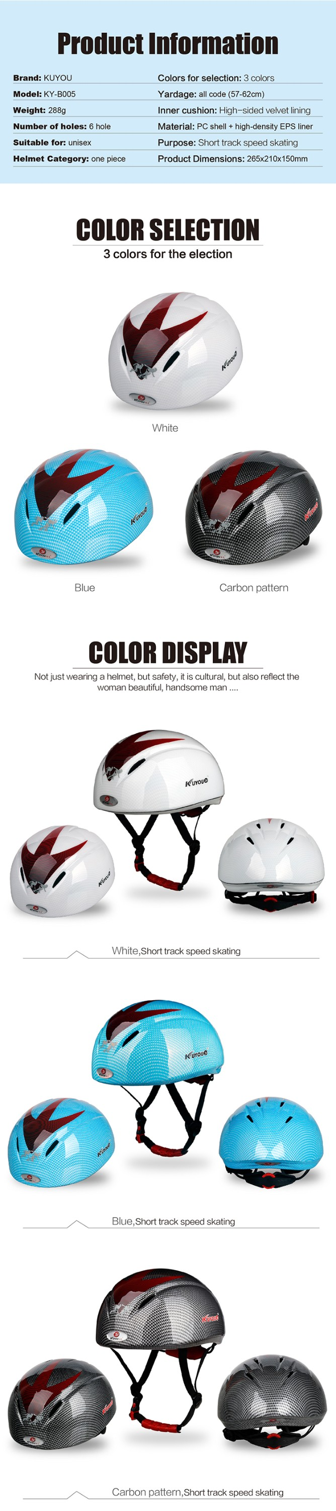 Professional skateboard Skiing short tracking speed skating safty Helmet