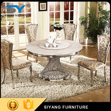 Latest design marble top rustic pictures of wodden dining table CT007