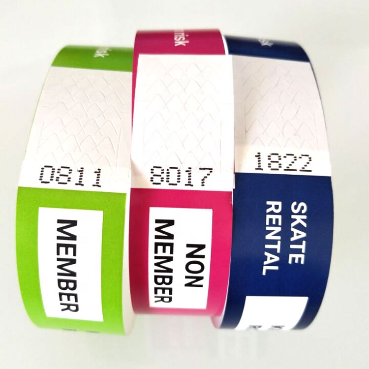 Personal Custom Message Bracelet Self Stick On <strong>Y</strong> 3/4&quot; x <strong>10</strong>&quot; Sequentially Numbered Crowd Management Paper Wristbands For Events