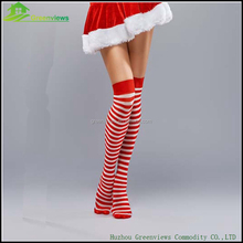 Christmas woman sock knee high stripe sock christmas party costumes