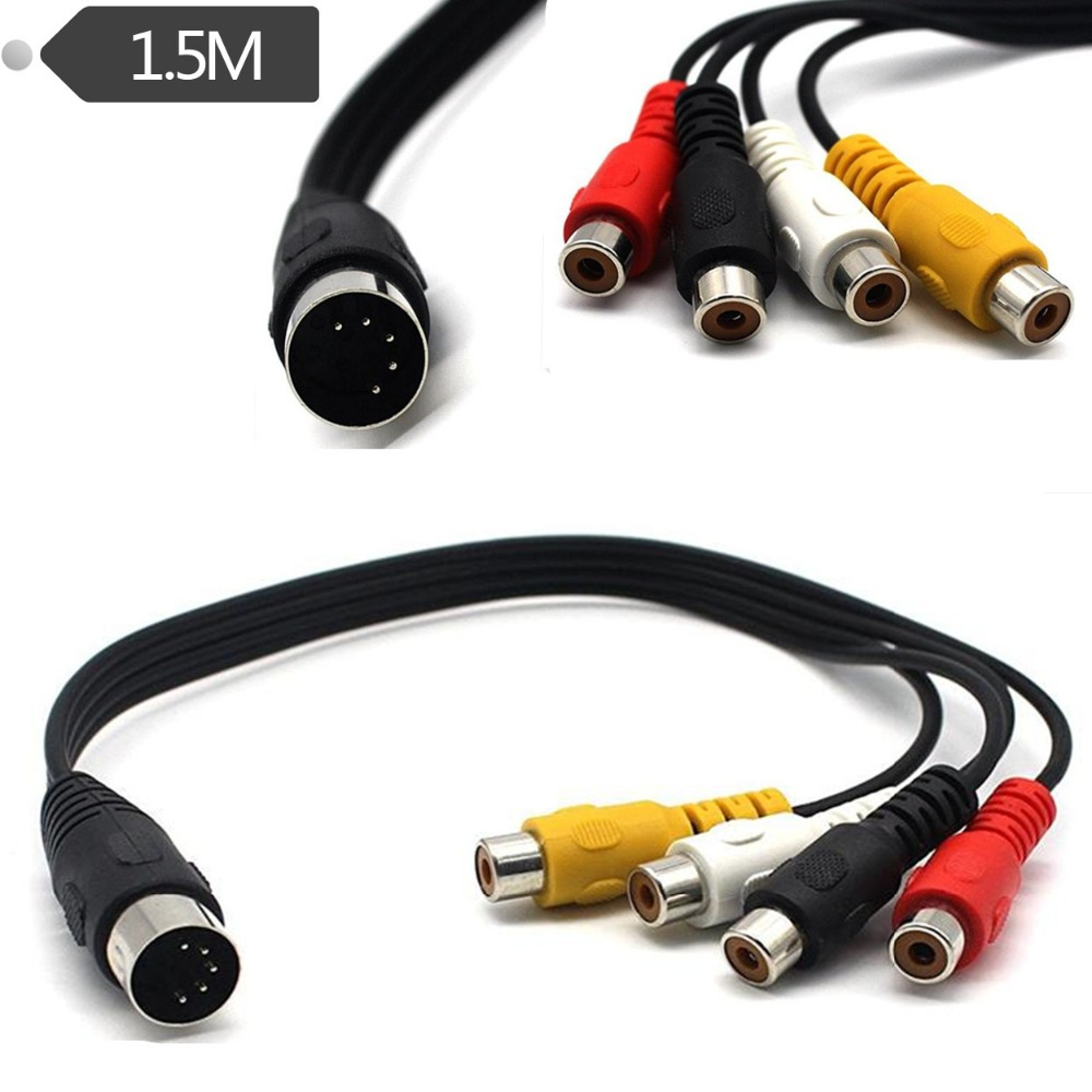 5 Pin Male Din Plug to 4 x RCA Phono Female Plugs Audio Cable 1.5m