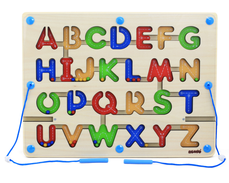 Educational uppercase Alphabet Jigsaw puzzle magnetic maze wooden puzzle