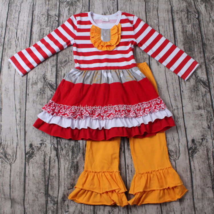 Fashion Baby Girls Boutique Clothing red and white stripe with lace wholesale clothing distributors