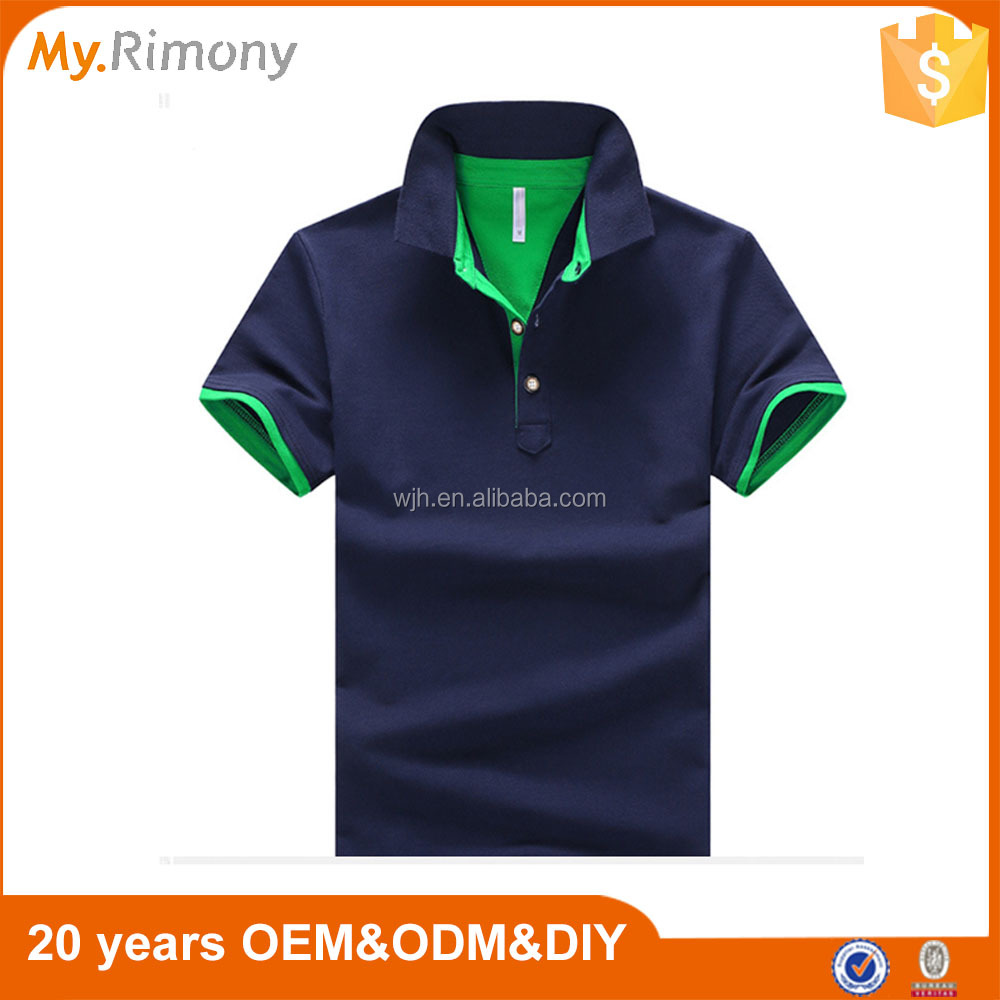 Two colour latest design plain men polo t shirt