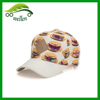 wholesale custom made 5 panel pre-curved brim design your own baseball cap with leather patch