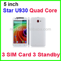 Star U930 3 Sim Card Mobile Phone 5 inch MTK6572 Dual Core Smart Mobile phone
