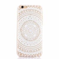 relief emboss tpu pc clear case for iphone 5 5s 6 6s 6plus with Datura flowers