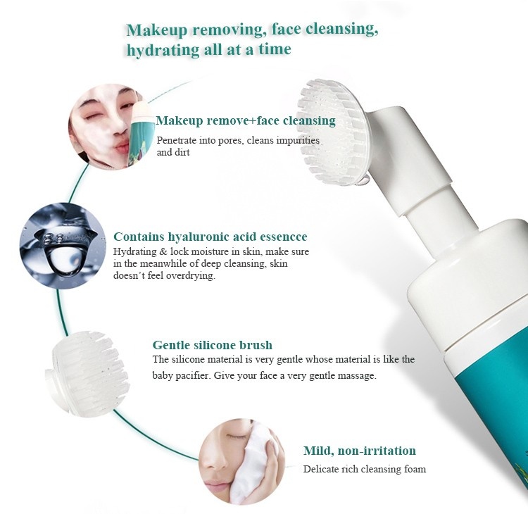 professional factory oem hyaluronic acid wash hydrating mild facial brush cleanser