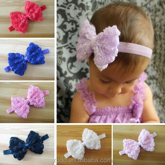 12 colors in stock children <strong>hair</strong> <strong>accessories</strong> 12cm large chiffon shabby bows baby headband