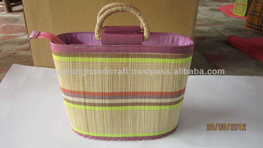 Colorful lines of bamboo blinds handbag newest 2013