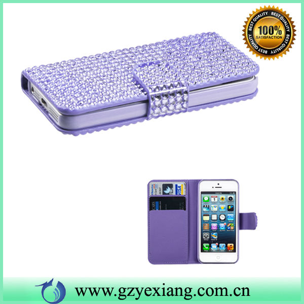 HOT Design Bling High End Wallet Phone Case For Iphone 5 Fashion Bling Crystal