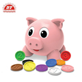 Red pink plastic save money pig box
