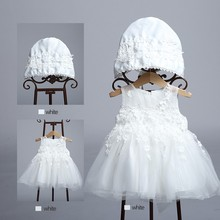 Wholesale Price Hot Sale Summer New Baby Toddler Girls Birthday PrincessParty Wedding Dress With Cap LBB001