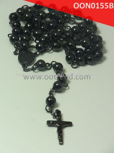 Whole sale Black stainless steel man rosary necklace man rosary from size 6-10mm